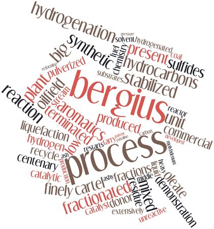 ash cloud: Abstract word cloud for Bergius process with related tags and terms Stock Photo
