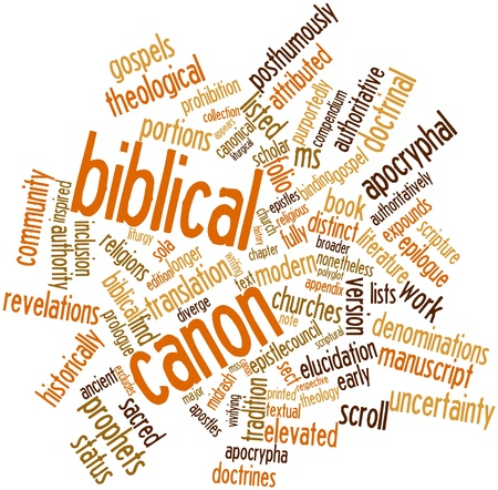 broader: Abstract word cloud for Biblical canon with related tags and terms