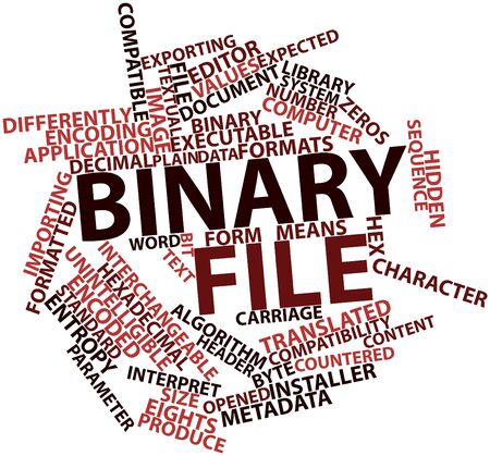 converts: Abstract word cloud for Binary file with related tags and terms Stock Photo