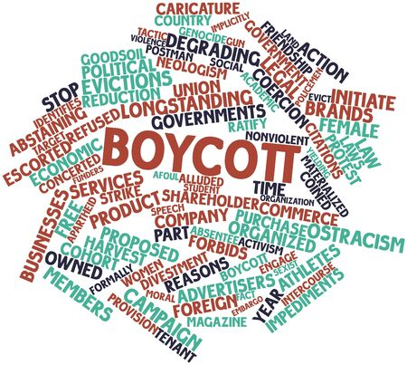 boycott: Abstract word cloud for Boycott with related tags and terms