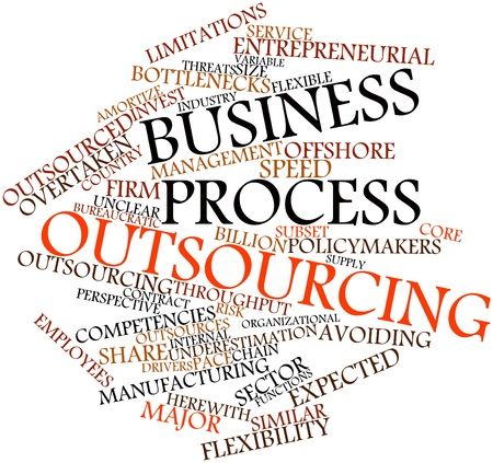overtaken: Abstract word cloud for Business process outsourcing with related tags and terms Stock Photo