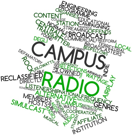 Abstract word cloud for Campus radio with related tags and terms Stock Photo