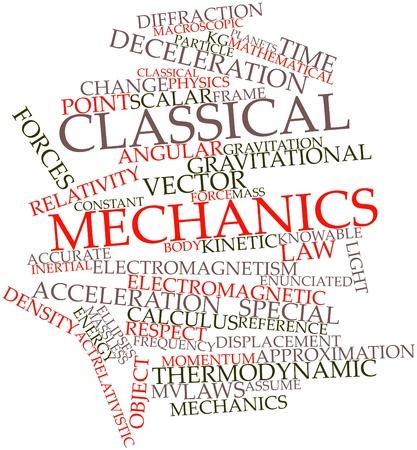 validez: Nube palabra abstracta para la mecánica clásica con las etiquetas y términos relacionados