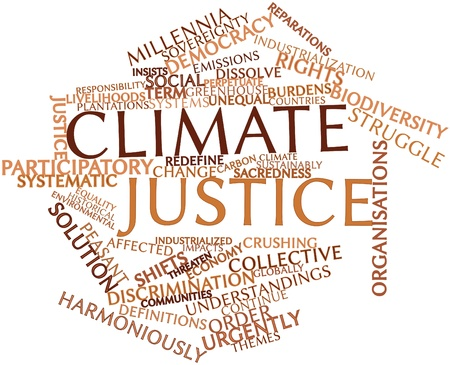 affected: Abstract word cloud for Climate justice with related tags and terms Stock Photo