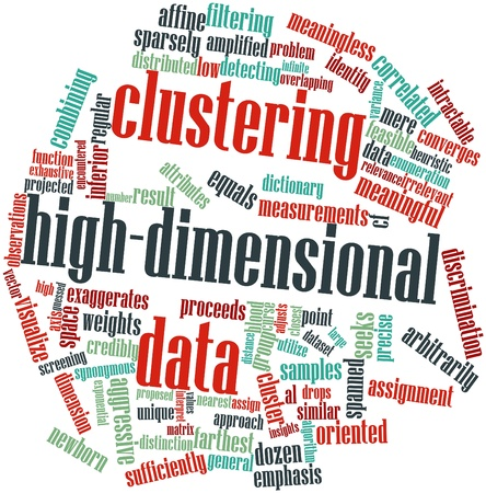 correlated: Abstract word cloud for Clustering high-dimensional data with related tags and terms Stock Photo