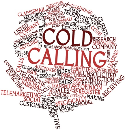 Abstract word cloud for Cold calling with related tags and terms photo