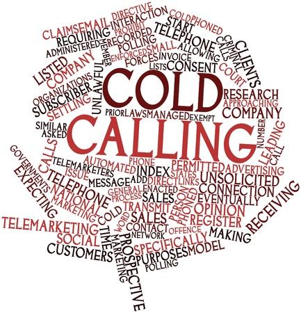Abstraktes Wort-Wolke für Cold calling mit verwandten Tags und Begriffe