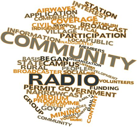 airwaves: Abstract word cloud for Community radio with related tags and terms Stock Photo
