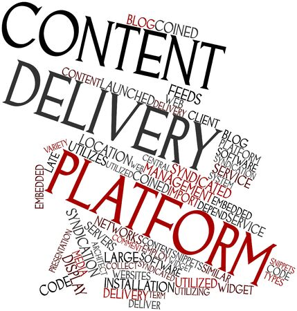 syndicated: Abstract word cloud for Content delivery platform with related tags and terms