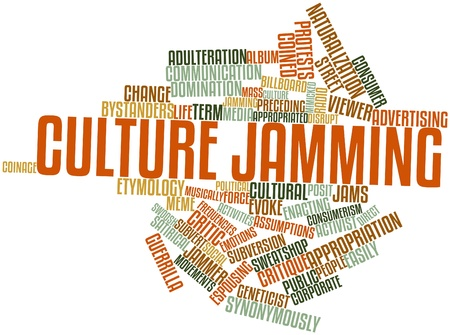 critique: Abstract word cloud for Culture jamming with related tags and terms