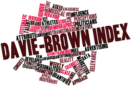 initiatives: Abstract word cloud for Davie-Brown Index with related tags and terms Stock Photo