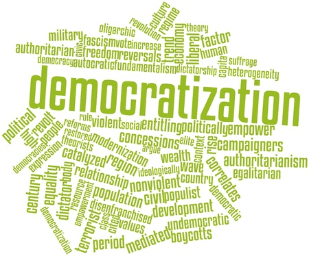 restored: Abstract word cloud for Democratization with related tags and terms
