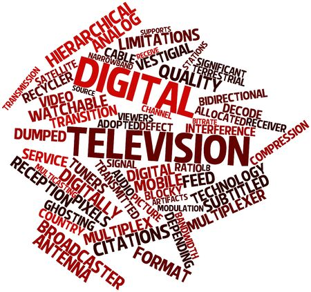 discarded: Abstract word cloud for Digital television with related tags and terms