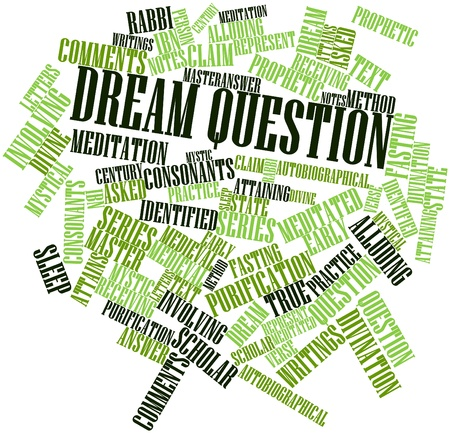 prophetic: Abstract word cloud for Dream question with related tags and terms Stock Photo
