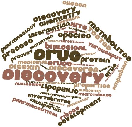throughput: Abstract word cloud for Drug discovery with related tags and terms Stock Photo