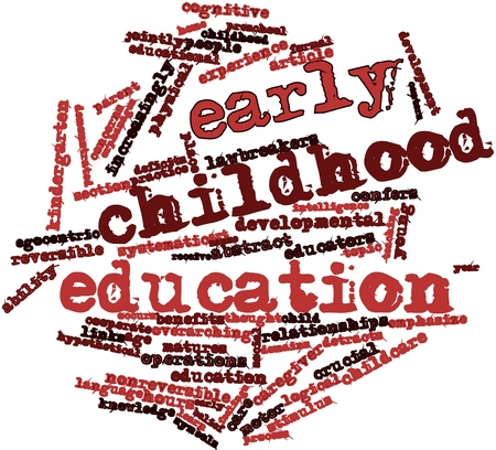 early childhood: Abstract word cloud for Early childhood education with related tags and terms Stock Photo