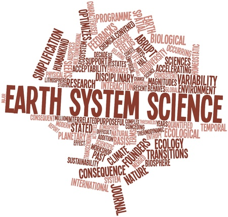sciences: Abstract word cloud for Earth system science with related tags and terms
