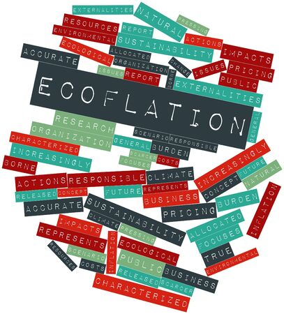 Abstract word cloud for Ecoflation with related tags and terms Banco de Imagens