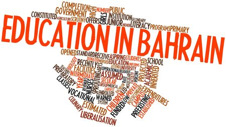established: Abstract word cloud for Education in Bahrain with related tags and terms Stock Photo