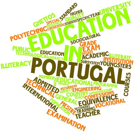 vocational: Abstract word cloud for Education in Portugal with related tags and terms