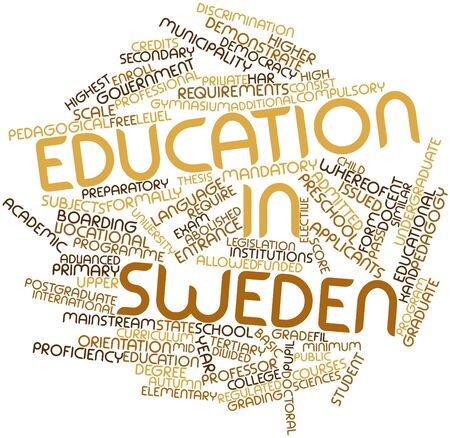 preparatory: Abstract word cloud for Education in Sweden with related tags and terms Stock Photo