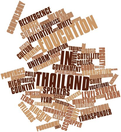 recognised: Abstract word cloud for Education in Thailand with related tags and terms