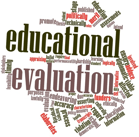 intend: Abstract word cloud for Educational evaluation with related tags and terms Stock Photo