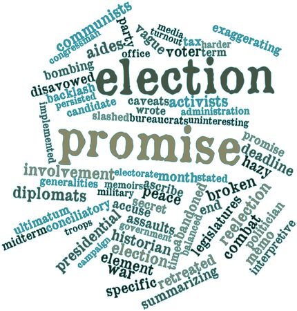 gimmick: Abstract word cloud for Election promise with related tags and terms Stock Photo