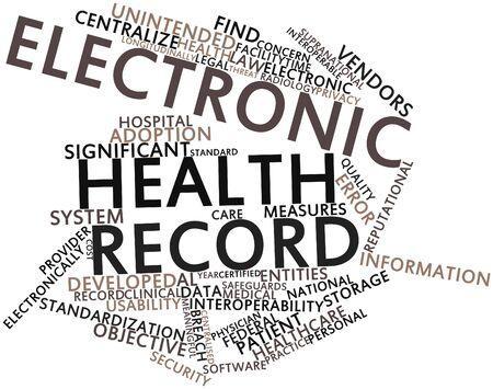 salud publica: Nube palabra abstracta para registro de salud electrónico con etiquetas y términos relacionados Foto de archivo