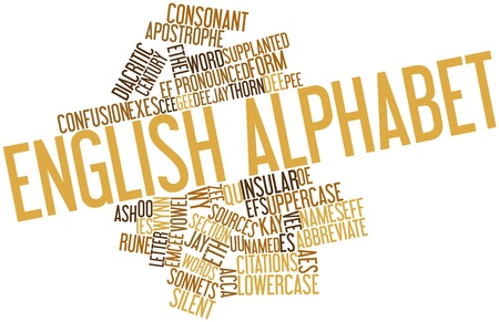 Abstract word cloud for English alphabet with related tags and terms