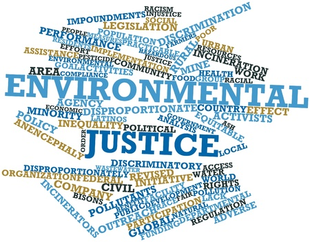 Abstract word cloud for Environmental justice with related tags and terms