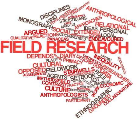 anthropological: Abstract word cloud for Field research with related tags and terms Stock Photo