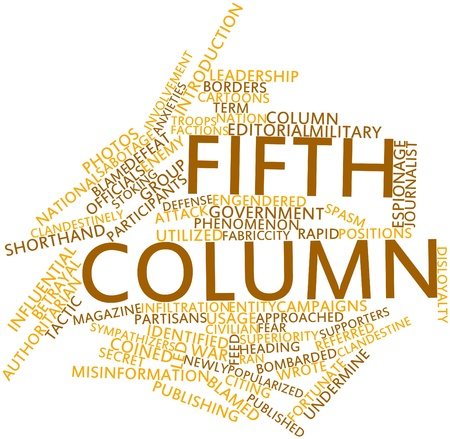 popularized: Abstract word cloud for Fifth column with related tags and terms Stock Photo