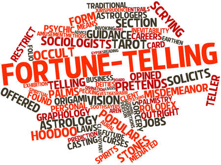 prohibitions: Abstract word cloud for Fortune-telling with related tags and terms Stock Photo