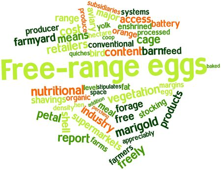 alfalfa: Abstract word cloud for Free-range eggs with related tags and terms Stock Photo