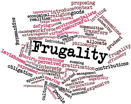 practiced: Abstract word cloud for Frugality with related tags and terms
