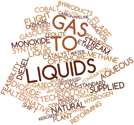 organics: Abstract word cloud for Gas to liquids with related tags and terms Stock Photo