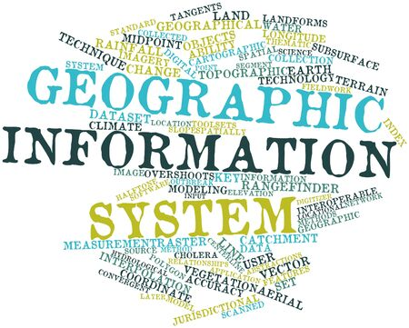 Abstract word cloud for Geographic information system with related tags and terms Stock Photo - 17427476