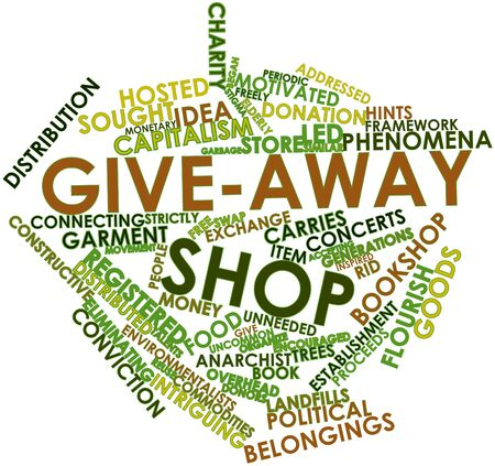 proceeds: Abstract word cloud for Give-away shop with related tags and terms