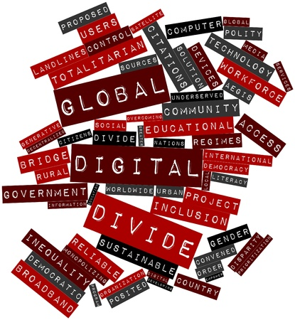 Abstract word cloud for Global digital divide with related tags and terms Stock Photo - 17409493