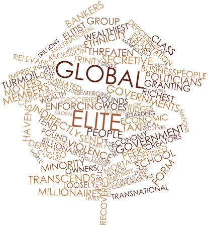 indirectly: Abstract word cloud for Global elite with related tags and terms Stock Photo