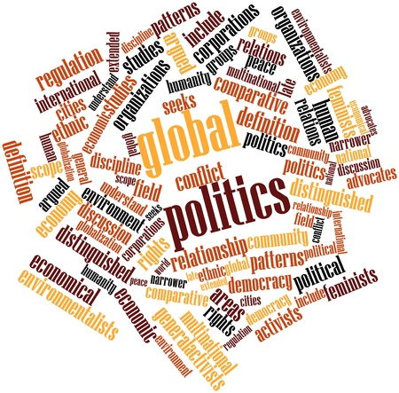advocates: Abstract word cloud for Global politics with related tags and terms