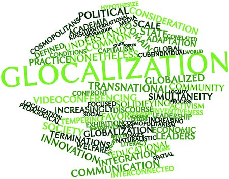 pedagogical: Abstract word cloud for Glocalization with related tags and terms Stock Photo