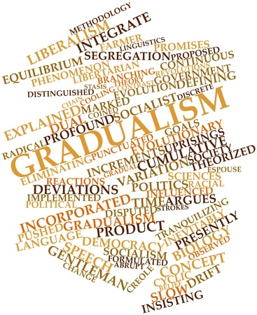 stasis: Abstract word cloud for Gradualism with related tags and terms Stock Photo