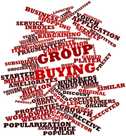 mobbing: Abstract word cloud for Group buying with related tags and terms