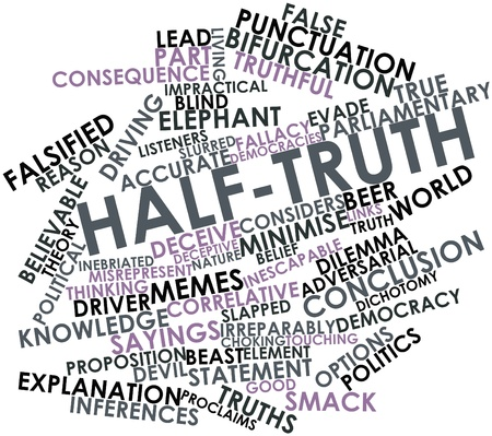intent: Abstract word cloud for Half-truth with related tags and terms