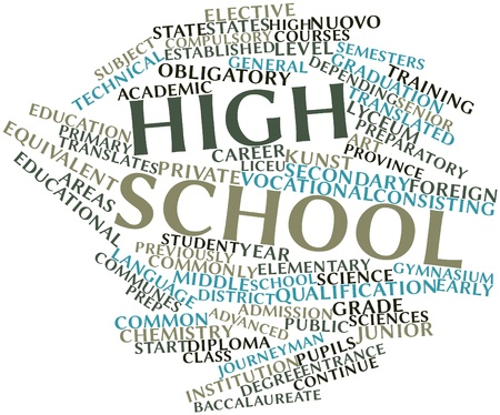Abstract word cloud for High school with related tags and terms Stock Photo - 17427460