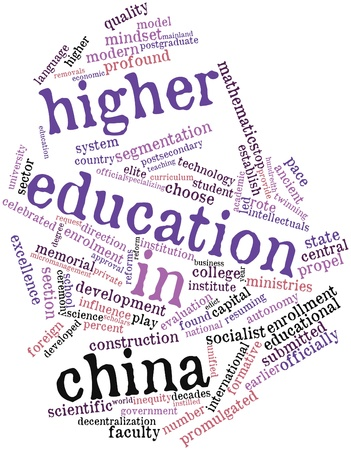fund world: Abstract word cloud for Higher education in China with related tags and terms