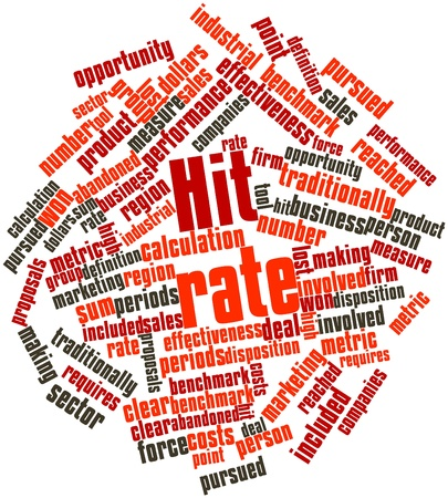 reached: Abstract word cloud for Hit rate with related tags and terms Stock Photo