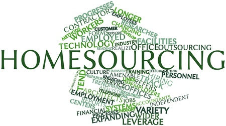 Abstract word cloud for Homesourcing with related tags and terms Stock Photo - 17427373